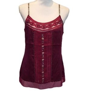 Other - Silk Cami Beaded Adjustable Straps Burgundy Red